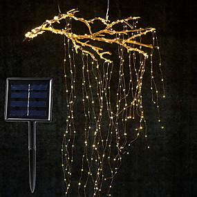 cheap LED String Lights-1Set 2M x 10 Branch 200LED Solar Power Vines Branch LED String Fairy Light Outdoor Garden Fence Tree LED Flexible String Fairy Branch Light Yard Garland Decoration Lighting