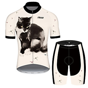 cheap Cycling & Motorcycling-21Grams Men's Short Sleeve Cycling Jersey with Shorts Summer Spandex Polyester Pink / Black Cat Animal Bike Clothing Suit UV Resistant 3D Pad Quick Dry Breathable Back Pocket Sports Cat Mountain Bike