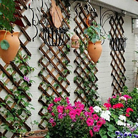 cheap Patio-Wall-mounted Wooden Assembly Steps Wooden Strip Outdoor Flower Stand Anticorrosive Wood Courtyard Grape Rack Balcony Screen Outdoor Decoration