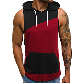 cheap Athleisure Wear-Men's Tank Top Shirt Color Block Sleeveless Daily Tops Cotton Basic Hooded White Wine / Sports