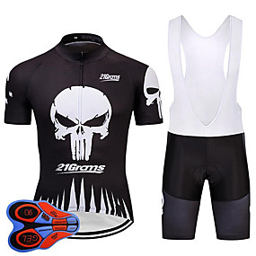 cheap Cycling & Motorcycling-21Grams Sugar Skull Skull Men's Short Sleeve Cycling Jersey with Bib Shorts - Black+White Bike Clothing Suit Quick Dry Moisture Wicking Breathable Sports Summer Terylene Polyester Taffeta Mountain