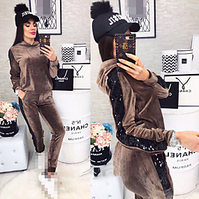 cheap Running & Jogging-Women's 2 Piece Tracksuit Sweatsuit Jogging Suit Street Casual Long Sleeve Velvet Moisture Wicking Quick Dry Breathable Running Active Training Jogging Sportswear Hoodie Black Beige Coffee Activewear