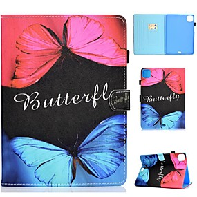 cheap iPad case-Case For Apple iPad Air/iPad Mini 3/2/1/4/5 Card Holder / Flip / Pattern Full Body Cases Butterfly PU Leather For iPad Air 10.5 2019/iPad 10.2/Pro 11 2020/iPad 2017/iPad 2018