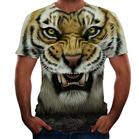 cheap Athleisure Wear-Men's T shirt Color Block 3D Animal Plus Size Short Sleeve Going out Tops Basic Brown