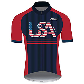 cheap Cycling & Motorcycling-21Grams Men's Short Sleeve Cycling Jersey Summer Spandex Polyester Black / Red Stripes American / USA USA Bike Jersey Top Mountain Bike MTB Road Bike Cycling UV Resistant Quick Dry Breathable Sports