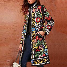 cheap Women's Outerwear-Women's Coat Daily Basic Stand Long Geometric Green M / L / XL