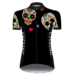 cheap Cycling & Motorcycling-21Grams Women's Short Sleeve Cycling Jersey Summer Black / Red Heart Sugar Skull Solid Color Bike Jersey Top Mountain Bike MTB Road Bike Cycling UV Resistant Quick Dry Breathable Sports Clothing