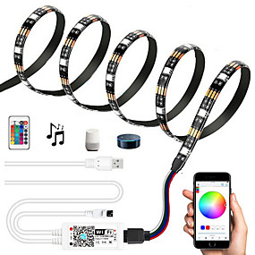 cheap WiFi Control-2m Flexible LED Light Strips Flexible Tiktok Lights 120 LEDs SMD5050 Multi Color Decorative TV Background 5 V