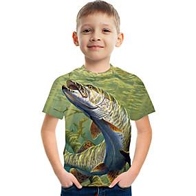 hesapli 2020 Trends-Çocuklar Genç Erkek Actif Sokak Şıklığı Zıt Renkli 3D Desen Kısa Kollu Tişört Yonca
