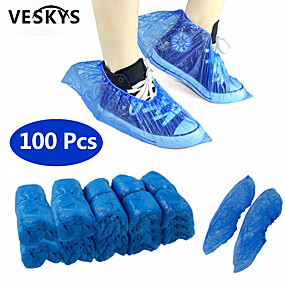 cheap Personal Protection-VESKYS 100Pcs Disposable Plastic Anti Slip Boot Safety Shoe Cover Cleaning  Plastic Over Shoes Shoe Boot Covers Carpet Protectors