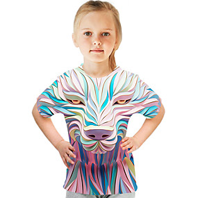 halpa 3D-Lapset Tyttöjen Aktiivinen Katutyyli Color Block 3D Painettu Lyhythihainen T-paita Uima-allas
