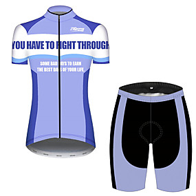 cheap Cycling & Motorcycling-21Grams Women's Short Sleeve Cycling Jersey with Shorts Summer Spandex Polyester Blue+White Patchwork Solid Color Novelty Bike Clothing Suit Ultraviolet Resistant Quick Dry Breathable Back Pocket