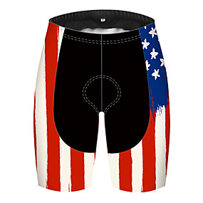 cheap Cycling & Motorcycling-21Grams Men's Cycling Shorts Summer Spandex Polyester Bike Shorts Pants Padded Shorts / Chamois 3D Pad Ultraviolet Resistant Quick Dry Sports American / USA USA National Flag Black / Red Mountain