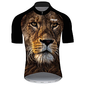cheap Cycling & Motorcycling-21Grams Men's Short Sleeve Cycling Jersey Summer Spandex Polyester Black / Yellow Solid Color Lion Animal Bike Jersey Top Mountain Bike MTB Road Bike Cycling UV Resistant Quick Dry Breathable Sports