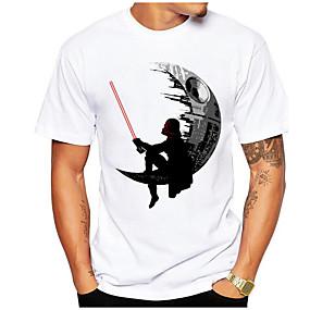cheap Athleisure Wear-Men's T shirt Shirt Geometric Plus Size Short Sleeve Daily Tops Round Neck White