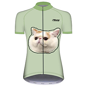 cheap Cycling & Motorcycling-21Grams Women's Short Sleeve Cycling Jersey Summer Spandex Polyester Green Cat Funny Animal Bike Jersey Top Mountain Bike MTB Road Bike Cycling UV Resistant Quick Dry Breathable Sports Clothing