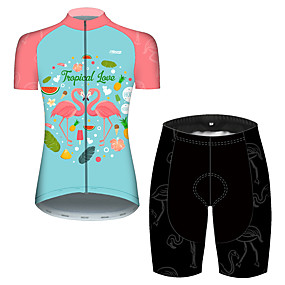 cheap Cycling & Motorcycling-21Grams Women's Short Sleeve Cycling Jersey with Shorts Summer Pink+Green Flamingo Floral Botanical Bike Clothing Suit 3D Pad Ultraviolet Resistant Quick Dry Breathable Reflective Strips Sports