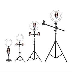 cheap Indoor Lighting-LED Selfie Ring Light Fill Light TikTok Lights Youtube Video Dimmable Broadcast Live with Stand Phone Holder Microphone 1pc 2pcs