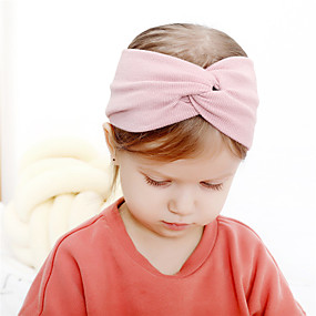 cheap Accessories-Fabric Headbands Durag Kids Bowknot Elasticity For New Baby Holiday Stylish Active Black and Purple Blushing Pink Army Green 1 Piece