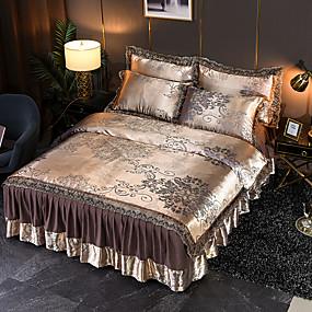 cheap High Quality Duvet Covers-Tencel Modal Satin Jacquard Bedspread  4 Piece Lace Wedding European Bed Skirt Bedding Set