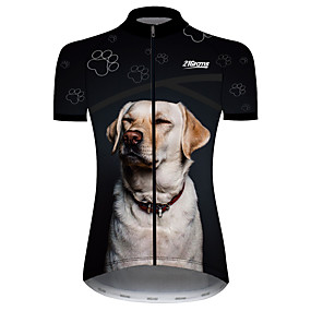 cheap Cycling & Motorcycling-21Grams Women's Short Sleeve Cycling Jersey Summer Spandex Polyester Black+White Dog Animal Bike Jersey Top Mountain Bike MTB Road Bike Cycling UV Resistant Quick Dry Breathable Sports Clothing