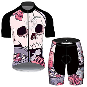 cheap Cycling & Motorcycling-21Grams Men's Short Sleeve Cycling Jersey with Shorts Summer Black / Red Sugar Skull Novelty Skull Bike Clothing Suit UV Resistant 3D Pad Quick Dry Breathable Reflective Strips Sports Sugar Skull