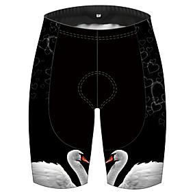 cheap Cycling & Motorcycling-21Grams Men's Cycling Shorts Spandex Bike Shorts Pants Padded Shorts / Chamois Quick Dry Breathable Sports Solid Color Swan Animal Black+White Mountain Bike MTB Road Bike Cycling Clothing Apparel