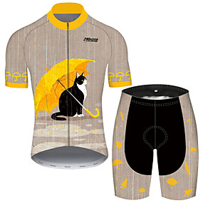 cheap Cycling & Motorcycling-21Grams Men's Short Sleeve Cycling Jersey with Shorts Summer Spandex Polyester Grey Cat Animal Bike Clothing Suit UV Resistant 3D Pad Quick Dry Breathable Back Pocket Sports Cat Mountain Bike MTB