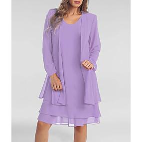 cheap Women's Dresses-Women's Plus Size Two Piece Dress - Long Sleeve Solid Colored Summer Spring & Summer Casual Belt Not Included 2020 Purple S M L XL XXL XXXL XXXXL XXXXXL