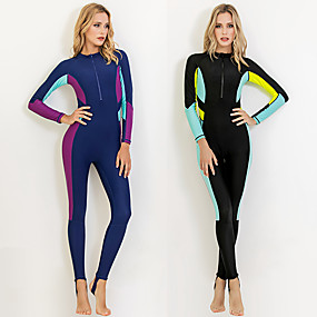cheap Surfing, Swimming & Diving-SBART Women's Rash Guard Dive Skin Suit Sun Shirt Bodysuit Swim Shirt UV Sun Protection Quick Dry Stretchy Long Sleeve Front Zip - Swimming Surfing Snorkeling Patchwork Autumn / Fall Spring Summer