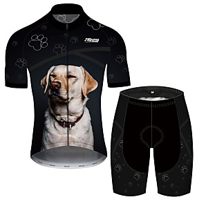 cheap Cycling & Motorcycling-21Grams Men's Short Sleeve Cycling Jersey with Shorts Summer Spandex Polyester Black+White Dog Novelty Animal Bike Clothing Suit UV Resistant Quick Dry Breathable Back Pocket Sweat wicking Sports Dog