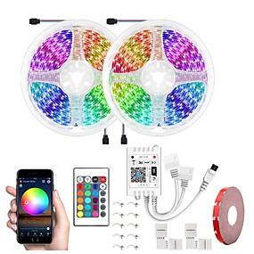 tanie Inteligentna lampka LED-led wifi bezprzewodowy rgb led smart strip światła wodoodporny 5050 600 leds 32.8ft 10 m z 24 przyciskami pilot elastyczna taśma światła pasuje do alexagoogle home