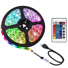 povoljno Svjetlosne trake i žice-BRELONG® 2m RGB svjetleće trake 60 LED diode 5050 SMD 10mm 1 24Ključuje daljinski upravljač 1pc RGB Vodootporno Cuttable USB 5 V / Samoljepljiva