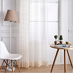 cheap Sheer Curtains-Two Panel American Style Golden Embroidered Screen Curtain Semi-Transparent Living Room Bedroom Children's Room Window Screen