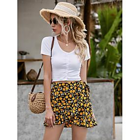 cheap Athleisure Wear-Women's Basic Skirts Floral Ruffle Yellow