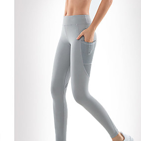 cheap Yoga & Fitness-Women's High Waist Yoga Pants Pocket Cropped Leggings Butt Lift Quick Dry White Black Grey Nylon Gym Workout Running Fitness Sports Activewear High Elasticity Skinny