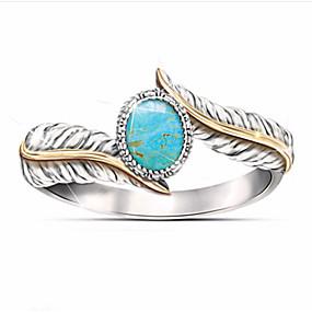 billige Graverte Ringer-personlig tilpasset Klar Turkis Ring Klassisk Gave Love Festival Geometrisk Form 1pcs Sølv