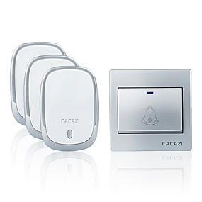 cheap Doorbell Systems-CACAZI Wireless Doorbell Waterproof Battery Button 300M Remote LED Light Receiver Home Cordless Bell 36 Chimes 4 Volume