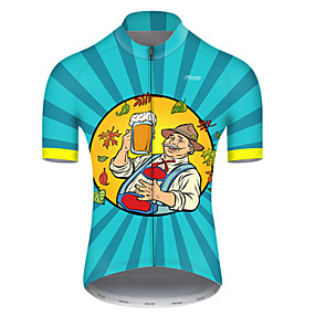 cheap Cycling & Motorcycling-21Grams Men's Short Sleeve Cycling Jersey Summer Nylon Polyester Blue+Yellow Stripes Oktoberfest Beer Bike Jersey Top Mountain Bike MTB Road Bike Cycling Ultraviolet Resistant Quick Dry Breathable
