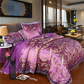 cheap High Quality Duvet Covers-European lace Jacquard Cotton Sateen four-piece wedding bedspread spread bedding