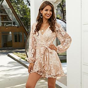 povoljno Wrap Dress-Žene Haljina A-kroja Mini haljina - Dugih rukava Cvjetni print Mrežica Print Ljeto V izrez Posao Elegantno Za odmor Izlasci 2020 Blushing Pink XS S M L