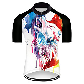 cheap Cycling & Motorcycling-21Grams Men's Short Sleeve Cycling Jersey Summer Nylon Polyester Black+White Wolf Animal Bike Jersey Top Mountain Bike MTB Road Bike Cycling Ultraviolet Resistant Quick Dry Breathable Sports Clothing