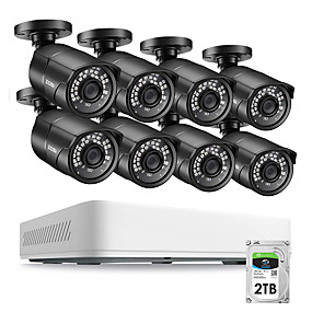 cheap DVR Kits-ZOSI 8CH HD 5.0MP H.265 Security Camera System with 8 x 5MP 2560*1920 Outdoor/ Indoor CCTV Surveillance Camera 2TB Hard Drive