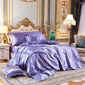 cheap Bedding Sets-4-Piece Imitated Silk Fabric Duvet Cover Set,Luxury Satin Bedding Sets Include 1 Duvet Cover, 1 Flat Sheet, 2 Shams
