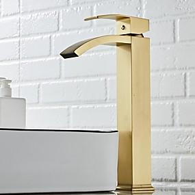 voordelige Badkamer wastafelkranen-Wastafel kraan - waterval nikkel geborsteld centre enkel handvat één holebad kranen