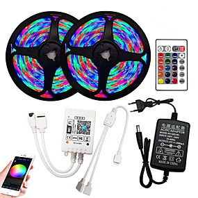 cheap WiFi Control-2x5M Flexible LED Strip Lights RGB Tiktok Lights Remote Controls 540 LEDs SMD2835 8mm 1 x 12V 2A Adapter WiFi Controller 1 set RGB Change Christmas New Year's Cuttable Party Decorative
