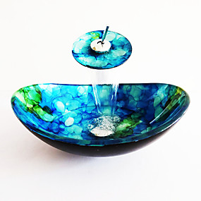 cheap Vessel Sinks-Boat Shape Blue Tempered Glass Vessel Sink with Waterfall Faucet Pop - Up Drain and Mounting Ring