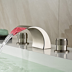 cheap Bathroom Sink Faucets-Bathroom Sink Faucet - LED / Widespread / Waterfall Nickel Brushed Deck Mounted Two Handles Three HolesBath Taps