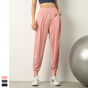 cheap Running & Jogging-INFLACHI Women's High Waist Joggers Track Pants Athleisure Wear Bottoms Running Jogging Training Tummy Control Butt Lift Quick Dry Sport Solid Colored Black Blushing Pink Gray / Stretchy / Breathable