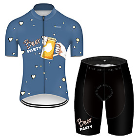 cheap Cycling & Motorcycling-21Grams Men's Short Sleeve Cycling Jersey with Shorts Summer Nylon Polyester Black / Blue Heart Oktoberfest Beer Bike Clothing Suit 3D Pad Ultraviolet Resistant Quick Dry Breathable Reflective Strips